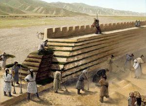 Representación de la construcción de la muralla encontrada