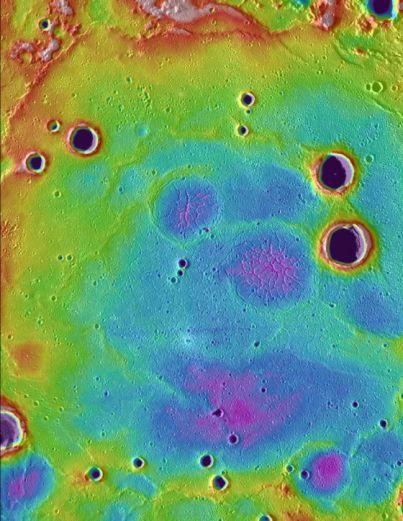 Antiguas llanuras volcánicas en el hemisferio Norte de Mercurio, sobre las que se aprecian cráteres de impacto posteriores.